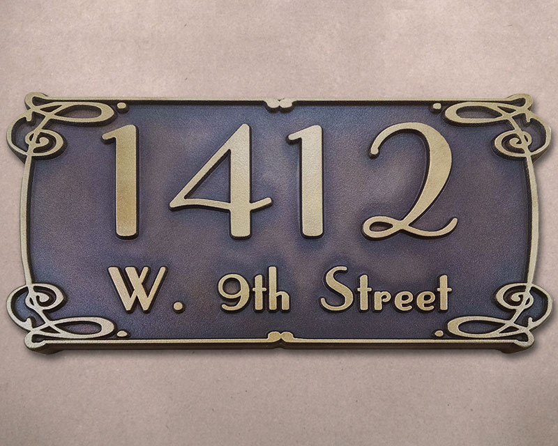 Art nouveau style green brass address plaque carved