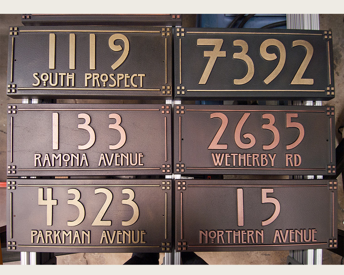 craftsman style copper and brass address plaques in progress